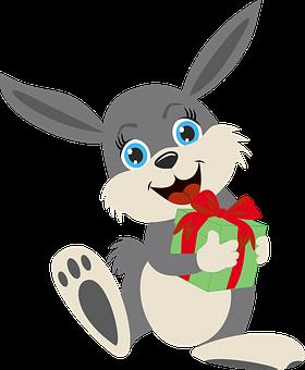 Rabbit, Gift, Cartoon, Character, Bunny, Hare, Animal