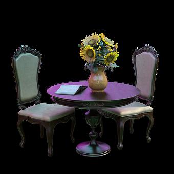 Table, Chair, Vintage, Furniture, Vase, Flower Vase