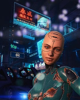 Robot Woman, Selfie, City, Night, Lights