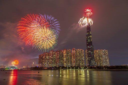 New Year, Fireworks, City, Night, Lights, Cityscape