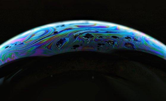 Abstract, Bubble, Colorful, Soap Bubble, Dark, Macro