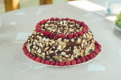 Cake, Pie, Dessert, Pastry, Raspberry, Nuts, Food