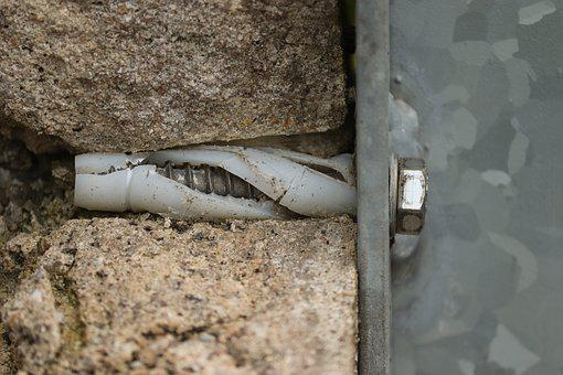 Dowel, Screw, Wall, Stone, Stone Wall, Metal Screw