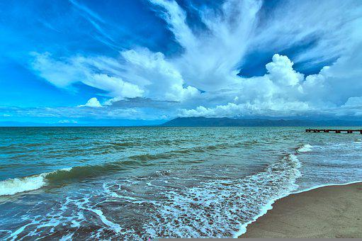 Beach, Seashore, Clouds, Coast, Sand, Coastline, Wave