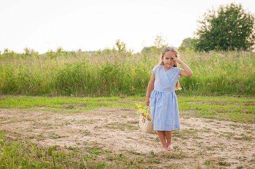 Girl, Model, Dress, Basket, Meadow, Grass, Kid