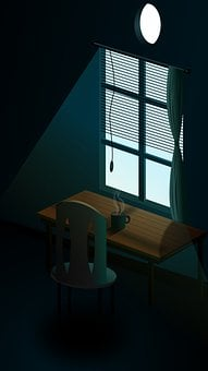 Dark Room, Chair, Table, Window, Light, Room, Furniture