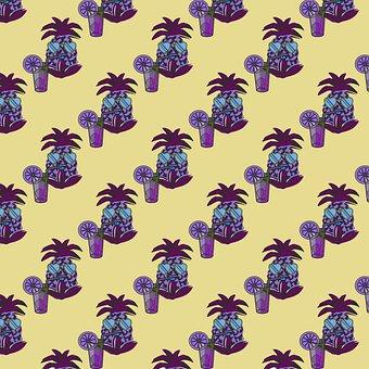 Pineapple, Drink, Palm Tree, Cactus, Plant, Pot, Design