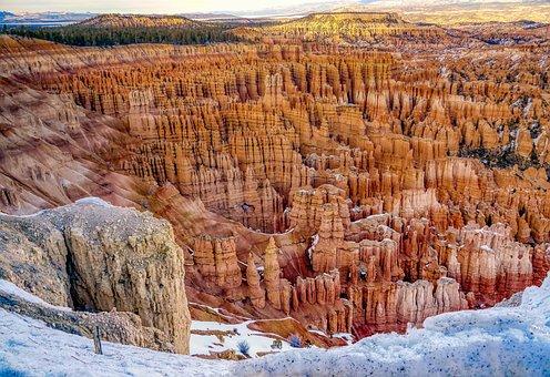 Bryce Canyon, Landscape, Winter, Snow, Sandstone