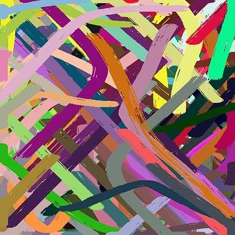 Streaks, Messy, Brush, Stroke, Watercolor