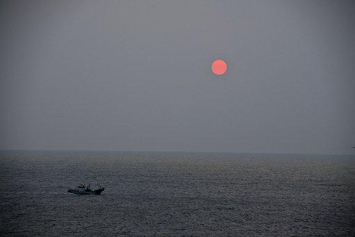 Boat, Ocean, Waves, Sunrise, Fog, Morning, Landscape
