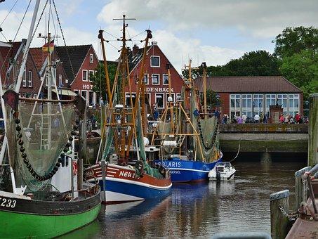 Boats, Port, Harbour, North Sea, Wadden Sea