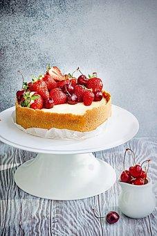 Cake, Dessert, Cheesecake, Food, Strawberries, Cherries