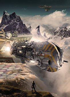 Spaceship, Mountains, Fantasy, Clouds, Fog, Light