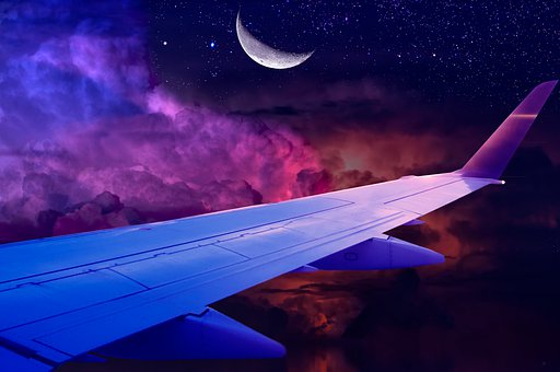 Moon, Plane, Sky, Ceu, Flying, Nature, Clouds, Astro