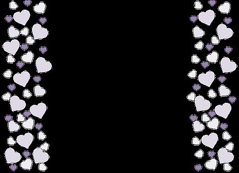 Hearts, Love, Frame, Border, Lilac, Decorative