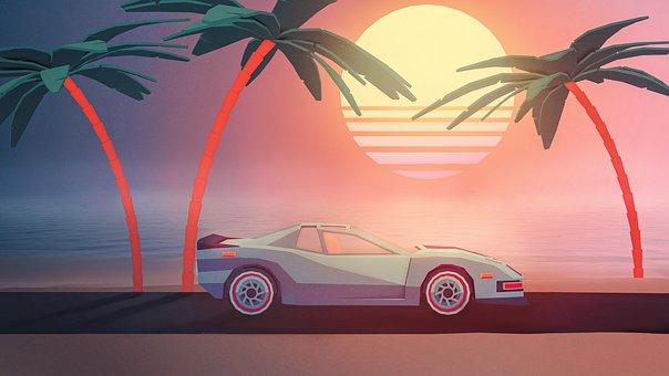 Sunset, Car, Sun, Summer, Nature, Palm Trees, Sea