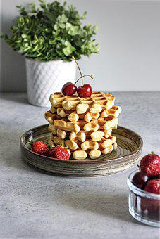 Waffles, Cherry, Breakfast, Strawberry, Belgian Waffle