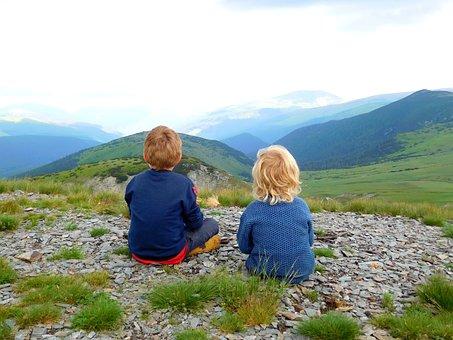 Mountains, Children, Camper, Sky, Childhood, Clouds