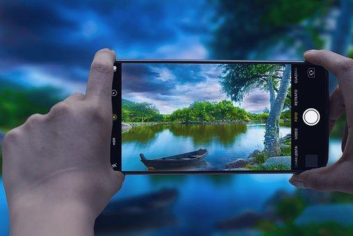 Smartphone, Camera, Nature, Lake, Boat, Mobile Phone