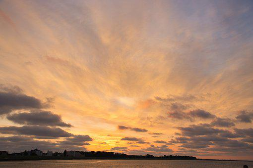 Bay, Sunset, Sea, Clouds, Coast, Reflection, North Sea