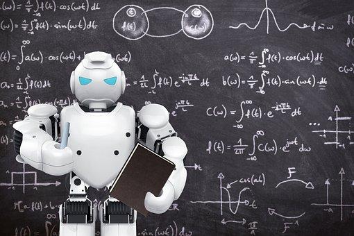 Robot, Teacher, Blackboard, Class, School, Chalk, Book