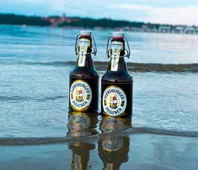 Beer, Beer Bottles, Sand, Beach, Waves, Sea, Ocean