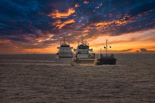 Ship, Sunset, Port, North Sea, Sea, East Frisia