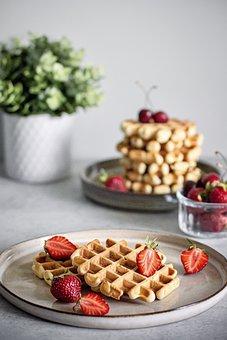 Waffle, Strawberry, Breakfast, Belgian Waffle, Berry