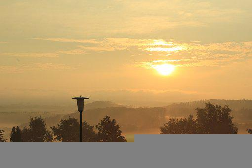 Trees, Sunset, Sunrise, Silhouettes, Sky, Fog, Clouds