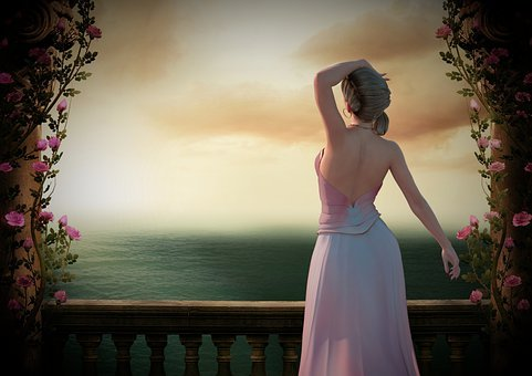 Woman, Balcony, Sunset, Girl, Watching, Waiting, Sea