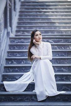 Woman, Portrait, Ao Dai, White Dress, Stair Way