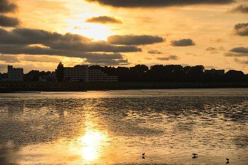 Bay, City, Sunset, Coast, Park, Sunlight, Reflection
