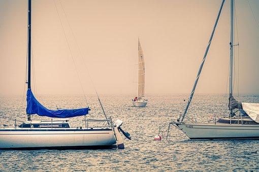 Sailing Boats, Fog, Lake, Rain, Mist, Ammersee