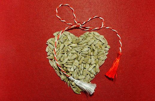 Sunflower Seeds, Martisor String, Heart, Tassels