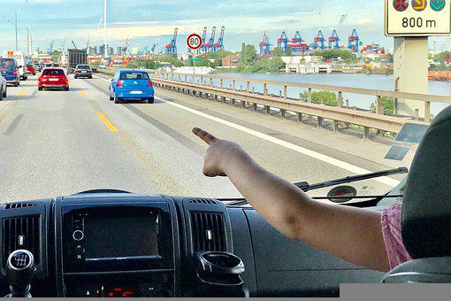 Auto, Drive, Travel, Highway, Index Finger, Child
