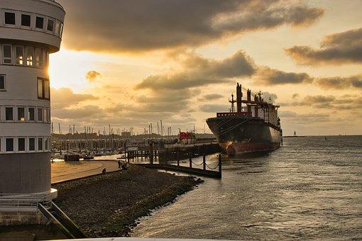 Ship, Port, Sunset, Coast, Sea, City, Harbor, Industry