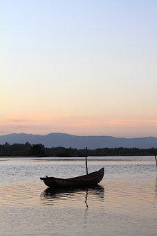 Sunrise, Lake, Boat, Waves, Horizon