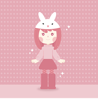 Girl, Kid, Rabbit, Child, Little Girl, Pink, Costume