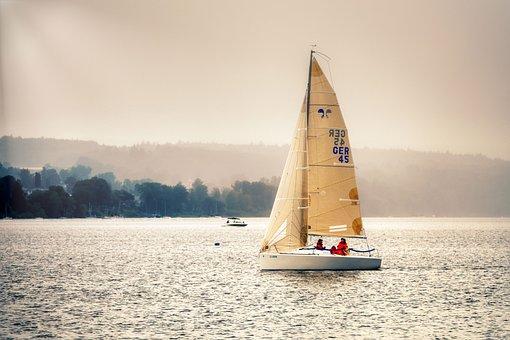 Sailing Boat, Fog, Lake, Rain, Mist, Ammersee, Sailboat