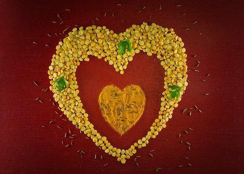 Peas, Turmeric, Heart, Spices, Shape