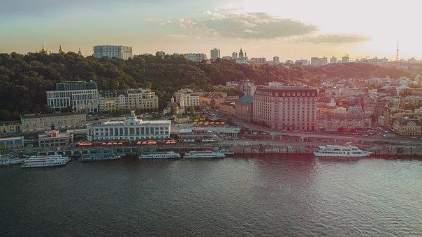 River, City, Port, Cityscape, Skyline, Ships, Boat