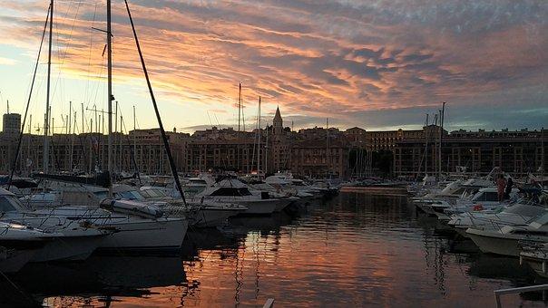 Marseille, Port, Boats, Sunset, City, Sea, Bay, Marina
