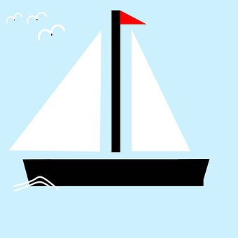 Boat, Sail, Tile, Yacht, Sailing Boat, Decorative