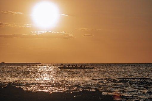 Boat, Kayak, Sea, Ocean, Waves, Sunset, Horizon