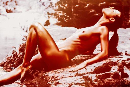 Woman, Nude, Model, River, Coast, Erotic, Feminine