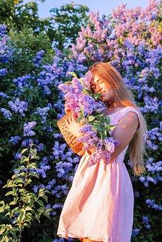 Woman, Model, Portrait, Flowers, Lilacs