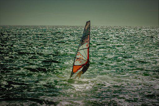 Windsurfing, Sea, Waves, Ocean, Water, Sport, Activity