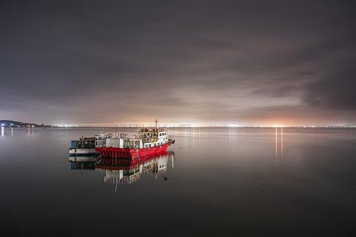 Boats, Sea, Night, Bridge, Lights, Ship, Night View