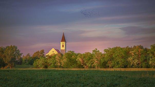 Church, Field, Sunset, Tower, Building, Landscape