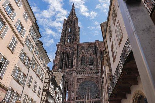 Cathedral, Building, Strasbourg, City, Facade